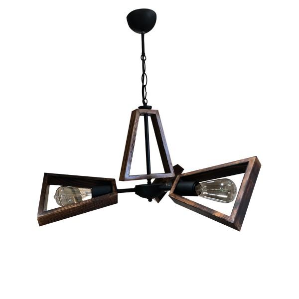 Φωτιστικό Κρεμαστό Woody Ξύλο με Μέταλλο Τρίφωτο Ε27 Φ60x65cm MEC-M18