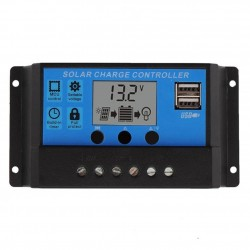 PWM 10A Dual USB Solar Panel Battery Regulator - Charge Controller 12V/24V ΟΙΚΙΑΚΟΣ ΕΞΟΠΛΙΣΜΟΣ