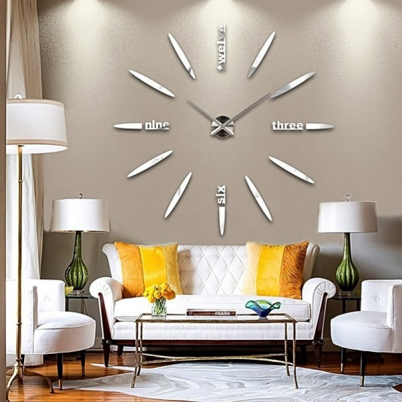 Μεγάλο Ρολόι Τοίχου 3D Stickers Mirror FAS1 Modern DIY Large Wall Clock  Silver -Do it 137ae249a24