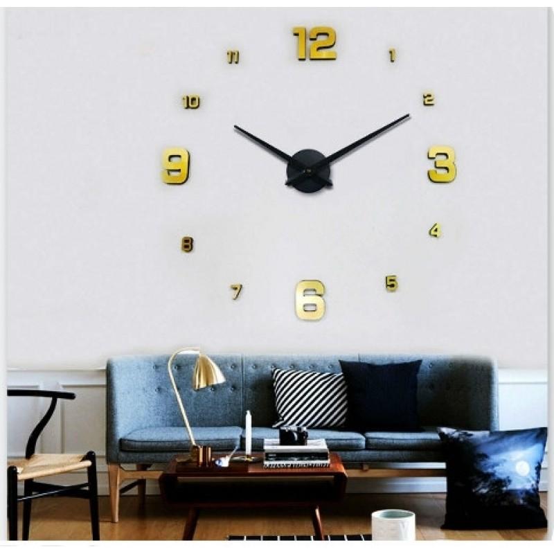 Παράδοση 1 έως 3 ημέρες Μεγάλο Ρολόι Τοίχου 3D DIY Large Wall Clock Golden -Do  it yourself ΟΙΚΙΑΚΟΣ ΕΞΟΠΛΙΣΜΟΣ 7e462e73b3b