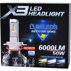 LED Headlight x3 6000 Lumens 50w H7 Zes Σετ 2 τεμαχιων HOBBY - GADGETS